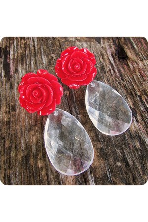 red handmade earrings