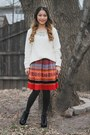Black-from-korea-boots-white-knitted-sweater-target-sweater