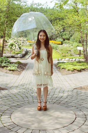 burnt orange from Korea shoes - ivory knitted lace Charlotte Russe dress