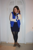 blue varsity asos jacket - white stripes H&M shirt - blue Sfera necklace