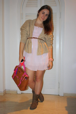light pink Tally Weijl dress - tan Zara jacket - tawny pauls boutique bag