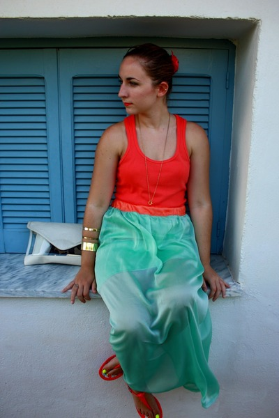 aquamarine sheer handmade skirt - carrot orange pull&bear shirt