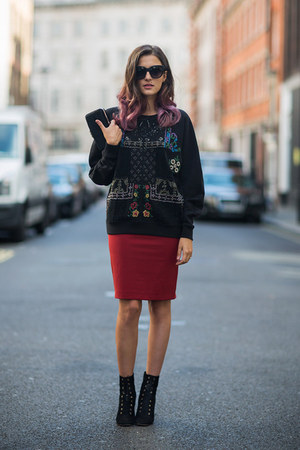 forest green Zara hoodie - forest green Jimmy Choo boots - crimson Zara skirt