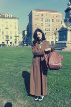brown armani coat - brown Guia s bag - black creepers shoes