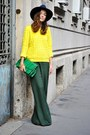 Navy-wool-zara-hat-yellow-cos-sweater-chartreuse-pyton-asos-purse