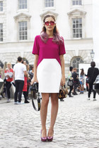 crimson leopard Jimmy Choo bag - magenta geometric CoTe dress
