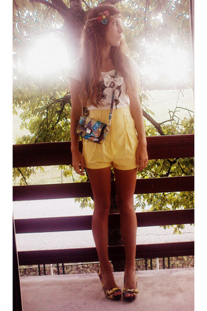 yellow shoes - teal purse - yellow vintage shorts - cream bow t-shirt