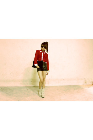 fur clutch bag - shorts - blouse - jc lana Jeffrey Campbell clogs