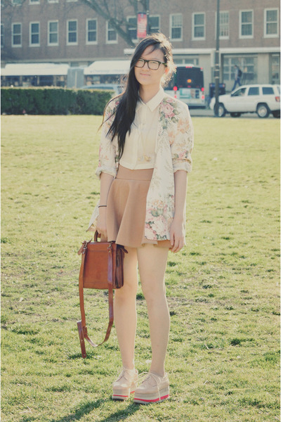 brown leather bag vintage bag - light pink creepers Jeffrey Campbell shoes