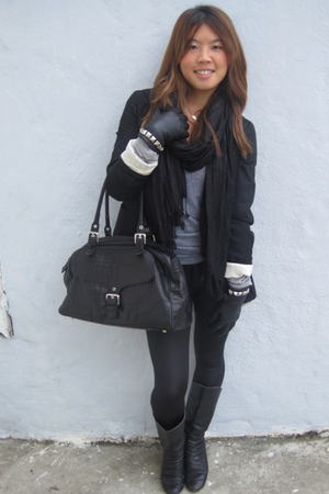 xhilaration blazer - H&M scarf - American Apparel t-shirt - DIY studded gloves -