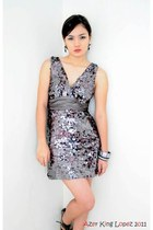 silver sequined Forever 21 dress - silver bracelet - black and white earrings -