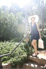 Navy-plaid-forever-21-dress-off-white-sunhat-hat-tan-mini-crossbody-bag