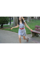 heather gray Old Navy dress - tan bag - red Forever 21 belt