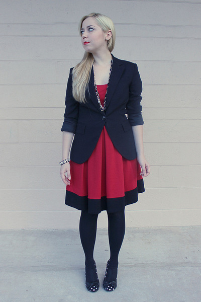 black Zara blazer - ruby red Soprano dress - black Express tights