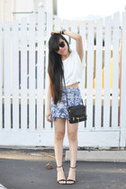 white crop Zara top - black Prabal Gurung x Target sandals - sky blue Tobi skirt