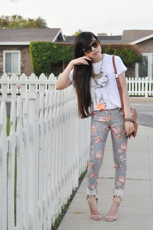 sky blue floral lucca couture jeans - white wildfox couture shirt