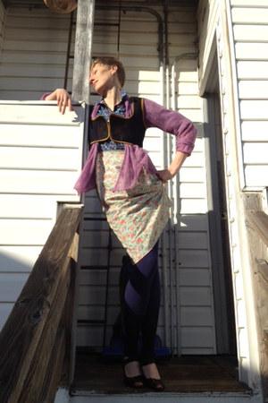 blue Delias leggings - amethyst eileen fisher sweater - navy vintage vest