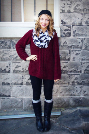 maroon wool Stitches sweater - black thrifted boots