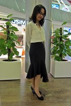 black mermaid skirt Zara skirt - cream silk shirt Zara shirt