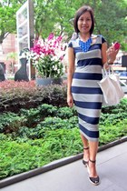 blue Lovisa necklace - navy Dorothy Perkins dress - white longchamp bag