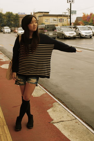 denim shorts Wego shorts - black suede Office boots - H&amp;M sweater