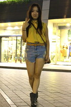 mustard shirt - denim shorts shorts