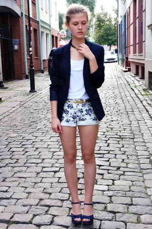 navy Bershka jacket - white Primark shorts