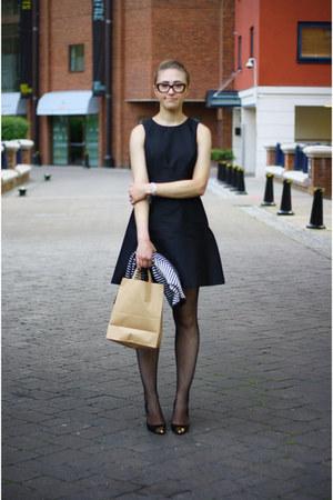 black Aldo shoes - black Oasis dress - whistles sweater
