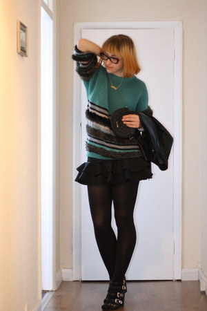 teal dagmar sweater - black Aldo shoes - black Miss Selfridge skirt