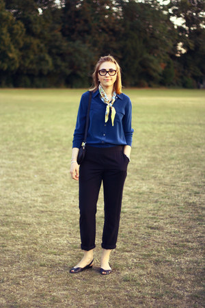 teal jaeger blouse - dark gray Hobbs pants