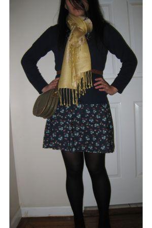 blue H&M cardigan - blue Forever 21 dress - black Forever 21 tights - gold scarf