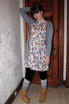 Forever 21 sweater - Spring boots - vintage dress