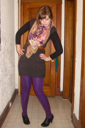 brown dress - purple Primark tights - purple H&M scarf - black H&M shoes - brown