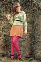 chartreuse Topshop sweater - tawny polka dot Topshop dress
