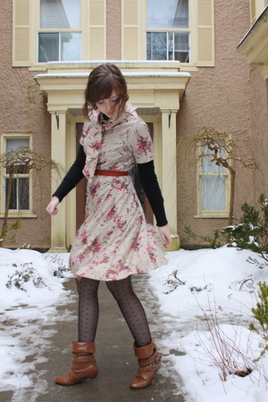 beige thrifted dress - black Fairweather sweater - black H&M tights - brown Char
