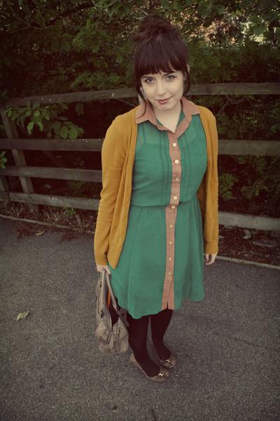 green button down Primark dress - dark brown Smart Set tights - gold H&M cardiga
