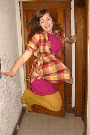 pink American Apparel dress - yellow Forever 21 shirt - gold modcloth tights