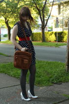 blue H&M dress - gray H&M tights - white Dolls shoes - brown vintage purse