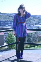 purple vintage dress - black tights - blue boots