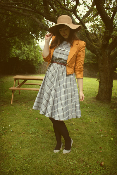 tawny Primark jacket - heather gray plaid vintage dress