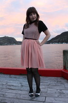 peach American Apparel dress - black American Apparel shirt - maroon American Ap