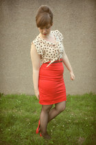red pencil H&M skirt - cream polka dot H&M blouse - black back seam American App