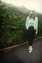 mint Topshop blazer - printed modcloth scarf - high-waisted American Apparel pan
