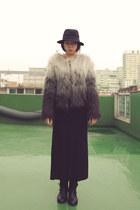 gray gradation coat H&M coat - black fedora H&M hat
