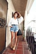 sky blue Style Nanda shorts - camel nanda girl boots - ivory Style Nanda shirt