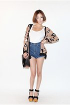 tan printed Nanda cardigan - blue Nanda shorts - black Nanda wedges
