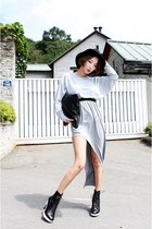silver Stylenanda dress - black nanda girl shoes - black nanda girl bag