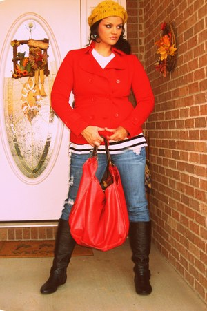 Forever 21 jacket - Nordstrom purse - H&M shirt - papaya boots - hat