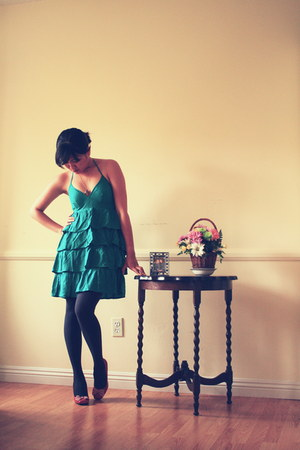 green H&amp;M dress - gray Gap tights - ruby red Style &amp; Co pumps
