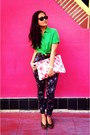 Green-button-up-love-culture-shirt-ruby-red-american-apparel-purse